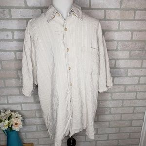 Tommy Bahama Cream Textured Silk Button Down Top